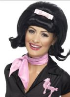 50's Flicked Beehive Wig - Black (43226)